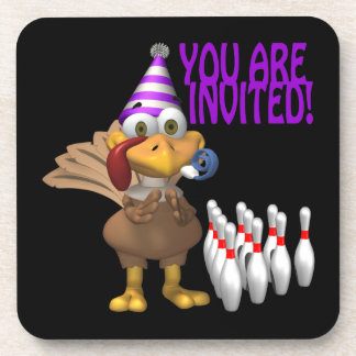 Bowling Party Invitation Drink Coaster