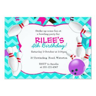 bowling party invitations zazzle
