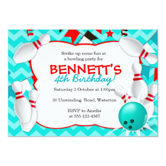 Bowling Party Invitation Red & Turquoise