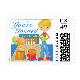 Bowling Party Invitation Stamp