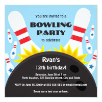 Kids bowling party invitations announcements zazzle bowling party invitation with bowling ball blue stopboris Gallery
