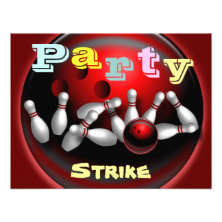 Bowling Party Invitations Personalized Announcement