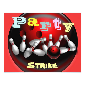 "Bowling Party Invitations 4.25"" X 5.5"" Invitation Card"