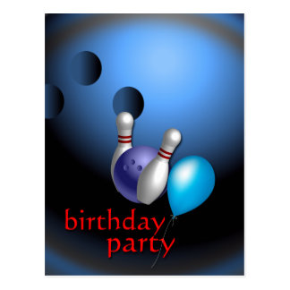 Bowling Party Invitations Customizable Postcard