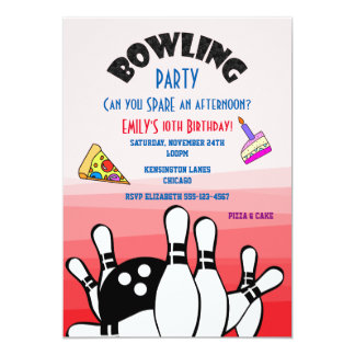 Bowling Party Invite Ball and Pins Pizza and Cake