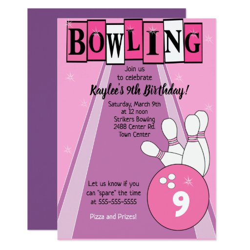 Bowling Party Pink Girls Birthday Card