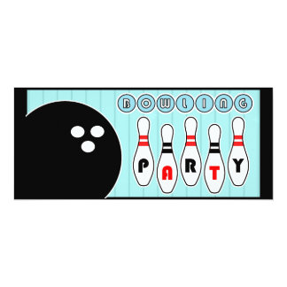 Bowling Party Pins Vintage Invitation