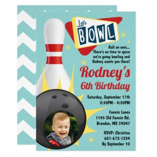Bowling Party Retro Tenpin with Photo Invitation