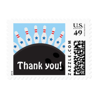 Bowling party thank you postage stamps, blue