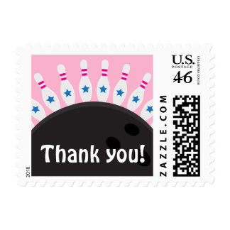 Bowling party thank you postage stamps pink