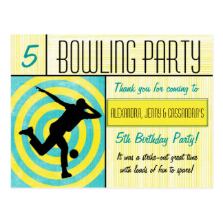 Bowling Party Thank You Postcard - Multiple Names
