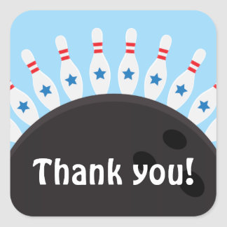 Bowling party thank you stickers, blue version square sticker