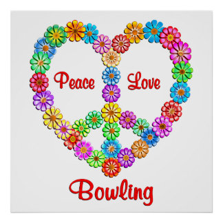 Bowling Peace Love Poster