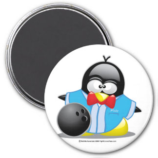 Bowling Penguin 3 Inch Round Magnet