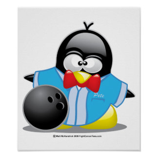 Bowling Penguin Poster