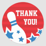 Bowling pin birthday party thank you sticker