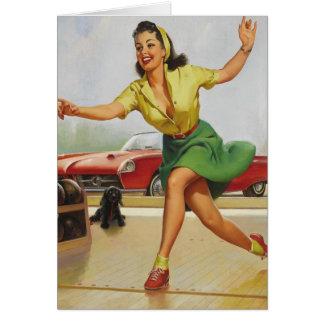 Bowling Pin Up Girl Card