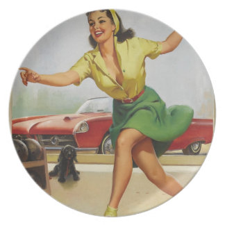 Bowling Pin Up Girl Dinner Plate