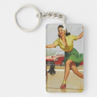 Bowling Pin Up Girl Keychain