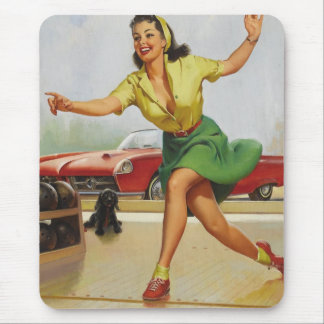 Bowling Pin Up Girl Mouse Pad