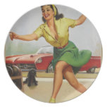Bowling Pin Up Girl Party Plate