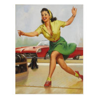 Bowling Pin Up Girl Postcard