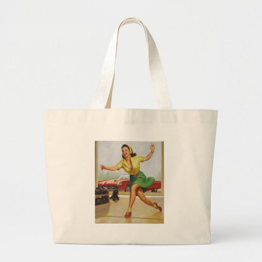 Bowling Pin Up Girl Tote Bags