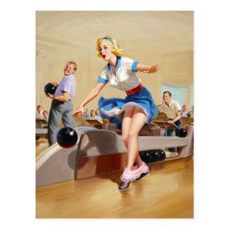 Bowling Pin Up Postcard