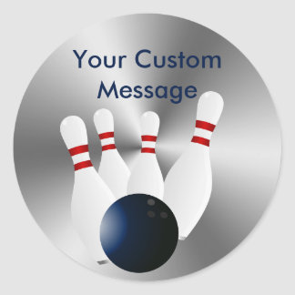 Bowling pins 10 Pin Bowling Ball Custom Classic Round Sticker