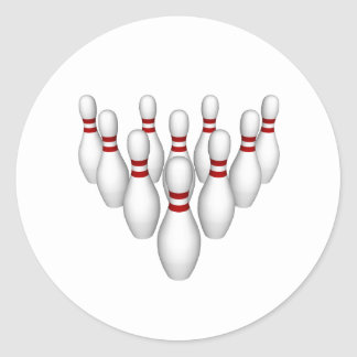 Bowling Pins: 3D Model: Classic Round Sticker