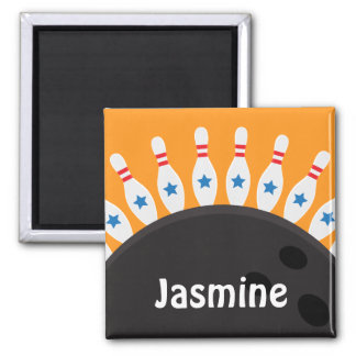 Bowling pins and ball name magnet