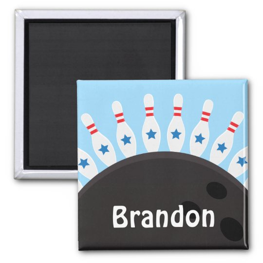Bowling pins and ball name magnet, blue version magnet