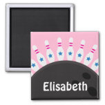 Bowling pins and ball name magnet, pink version