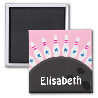 Bowling pins and ball name magnet pink version