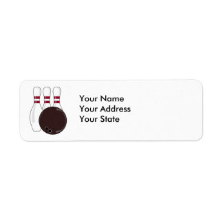bowling pins and ball vector design return address label