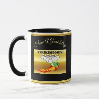 Bowling pins and ball with the word STRIKEOLOGIST Mug