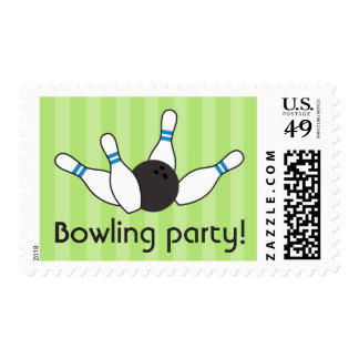 Bowling pins ball birthday party boys green blue postage stamp