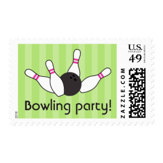 Bowling pins ball birthday party girls green pink postage