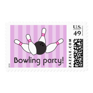 Bowling pins ball birthday party girls purple pink stamp