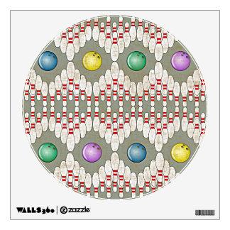 BOWLING PINS & BALLS DESIGN WALL DECAL