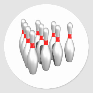 Bowling Pins Classic Round Sticker