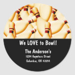 Bowling Pins Design 2 Address Labels Round Stickers
