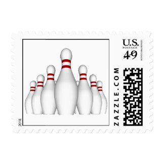 Bowling Pins Postage Stamps (small)