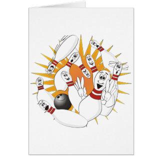 Bowling Pins Strike Cartoon Card