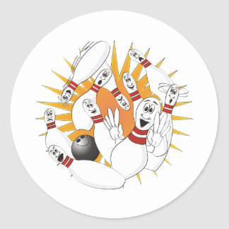 Bowling Pins Strike Cartoon Classic Round Sticker