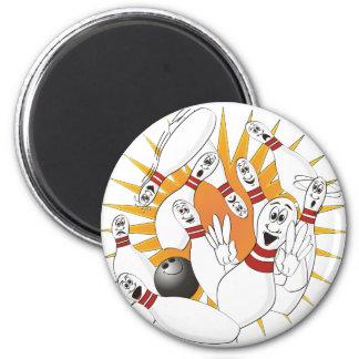 Bowling Pins Strike Cartoon 2 Inch Round Magnet