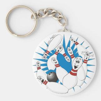 Bowling Pins Strike Cartoon no Hands Basic Round Button Keychain
