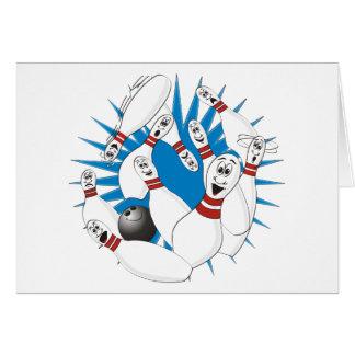 Bowling Pins Strike Cartoon no Hands Card