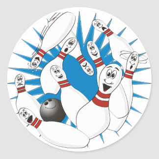 Bowling Pins Strike Cartoon no Hands Classic Round Sticker