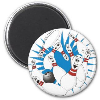 Bowling Pins Strike Cartoon no Hands 2 Inch Round Magnet